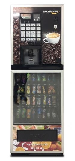 Maquina expendedora de bebidas calientes y snacks